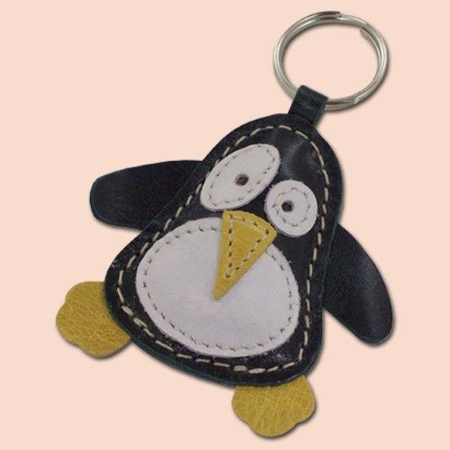 Cute Little Dark Green Penguin Leather Animal Keychain by snis, $14.00