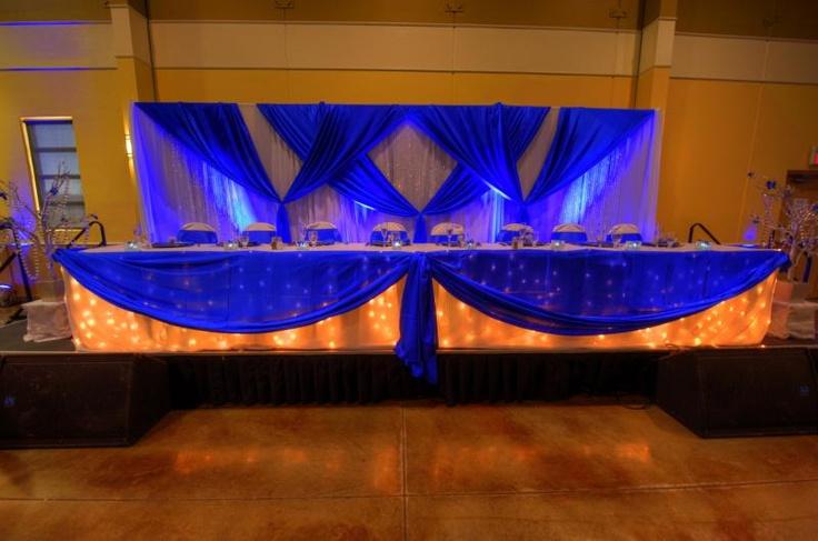 Royal Blue Table Setting And Backdrop Wedding Decor