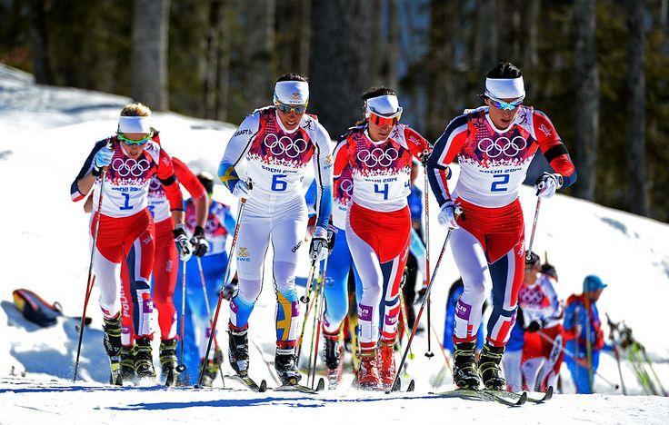 Sochi Olimpics: Therese Johaug, Charlotte Kalla of Sweden, Heidi Weng and Marit Bjoergen of Norway compete in the Ladies' Skiathlon 7.5 km Classic + 7.5 km Free.
