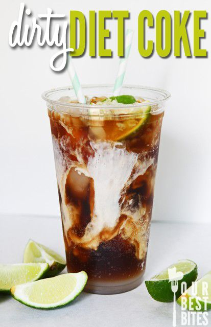 Dirty diet coke: 2 tablespoons coconut flavored syrup, crushed ice, 1/2 lime, 12 oz diet coke, splash of half and half.