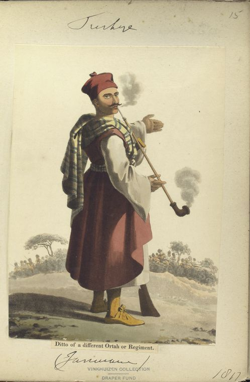 Janisarie of different Ortah or battalion. The Vinkhuijzen collection of military uniforms / Turkey, 1812. See McLean's Turkish Army of 1810-1815.