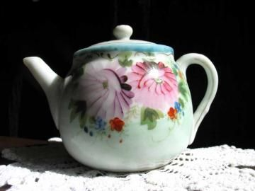 Tea Time - #Antique Childs Hand Painted #Teapot Tea Pot Item 1951 by #TheVintageTeacup for $25.00