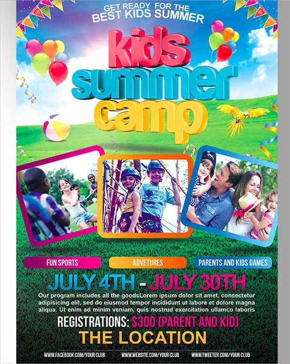 free summer camp flyer template psd