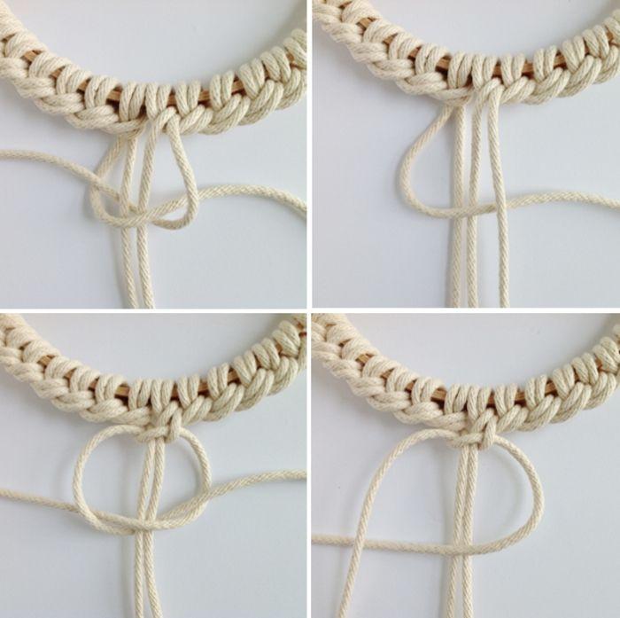 diy macramé, décoration boho, macramé technique, faire des nœuds macramé