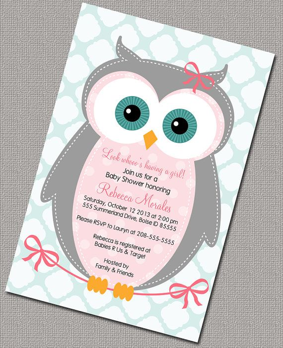 Exceptional Owl Baby Shower Invitation, Baby Girl, Pink, Gray, Seafoam Quatrefoil,  Digital