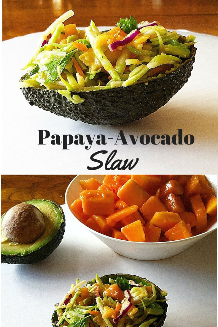 #healthy Papaya-Avocado Slaw! Perfect for a light lunch or a side dish! So easy to make! #vegan #paleo