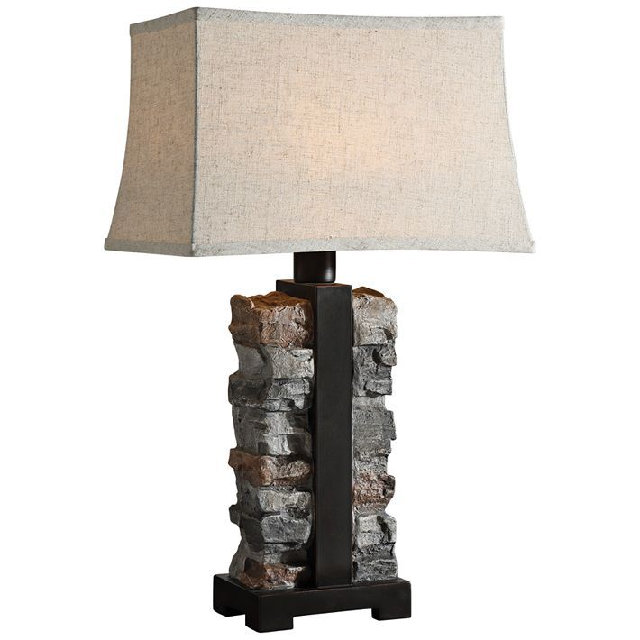 Uttermost Kodiak Stacked Stone Concrete Outdoor Table Lamp 59h35 Lamps Plus Stone Lamp Outdoor Table Lamps Rustic Table Lamps