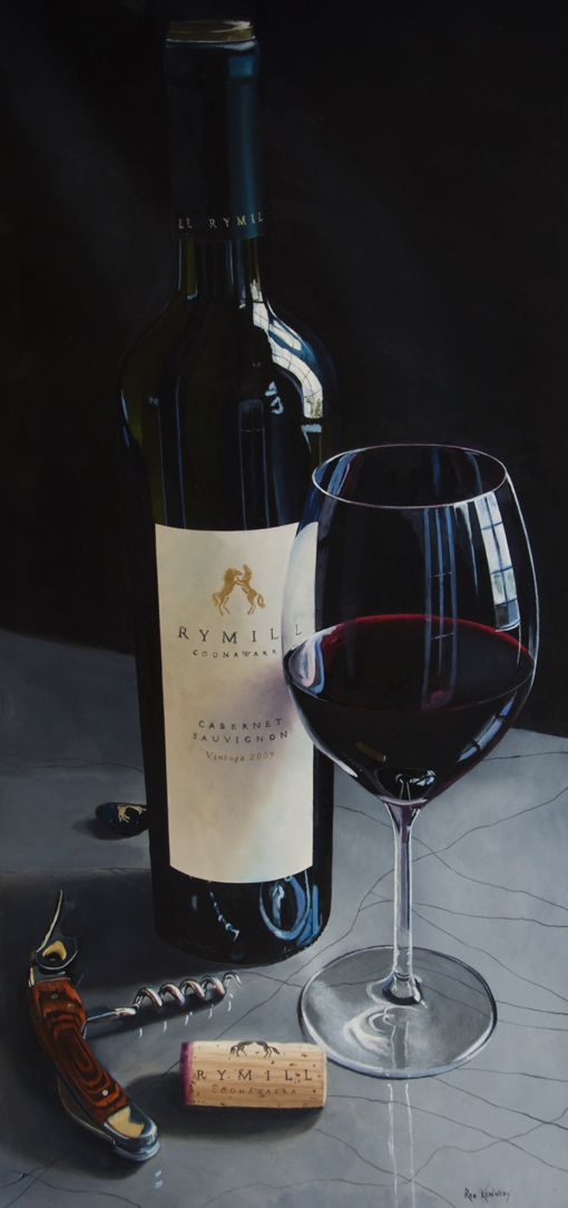 Rymill Stallions Inside is a deep moody painting designed to get the viewer to think about wine, reflections and composition.  By placing the bottle on polished concrete and using a dark background the coloured objects create a stark contrast.