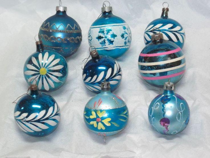 ANTIQUE BLUE CHRISTMAS TREE ORNAMENTS GERMANY POLAND USA VINTAGE