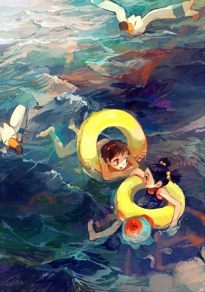 Tags: Ocean, Swim Ring, Pokémon, Nintendo, Kyogre, Wingull