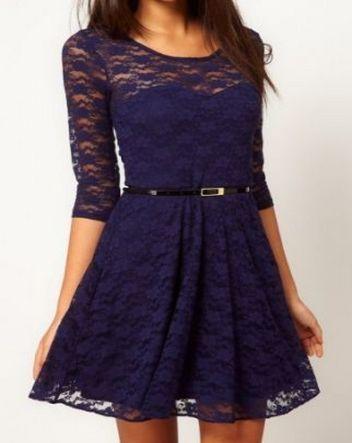 Blue Half Sleeve Blet Lace Skater Dress