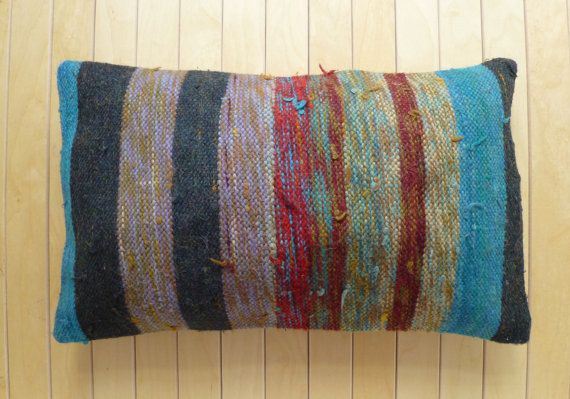Throw pillow with stripes Lumbar Wool Pillow by PillowTalkOnEtsy, $32.00