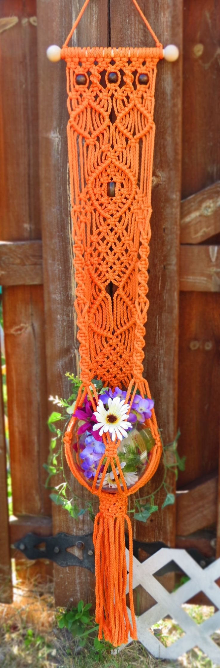 "Macrame plant hanger wall hanging, 50"" CARROT, hanging planter, orange plant…"