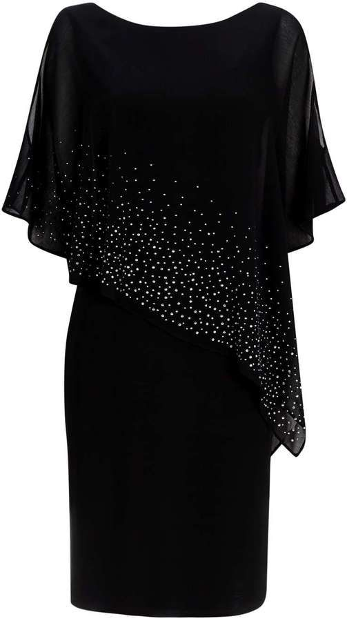 Black Embellished Overlay Dress