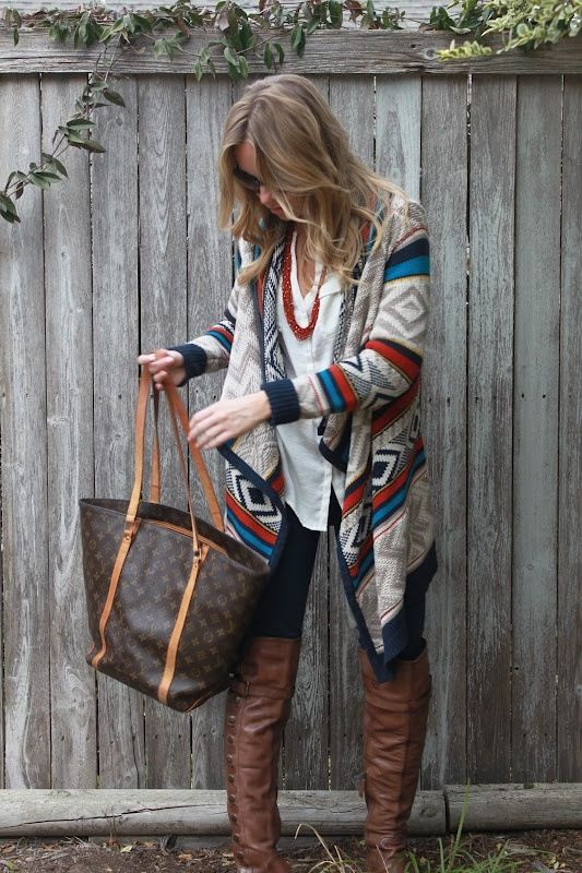 I love the Aztec sweater shown here, the necklace goes well with it. It looks comfortable but work appropriate as well.