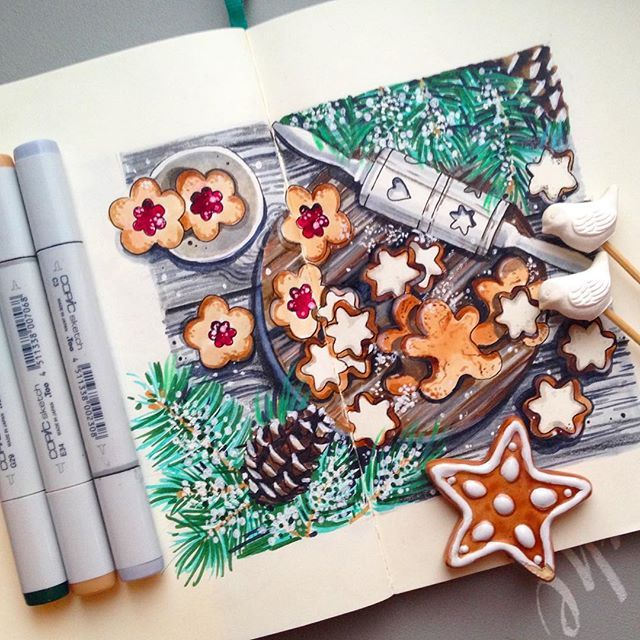 5/8. Новогодние вкусняшки✨#lk_newyear от @art_markers @miftvorchestvo @tsusketch. #newyear #happychristmas