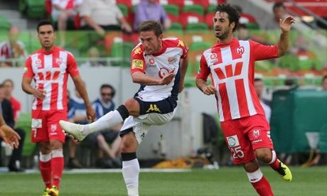 Adelaide United's Jeronimo Neumann against Melbourne Heart
