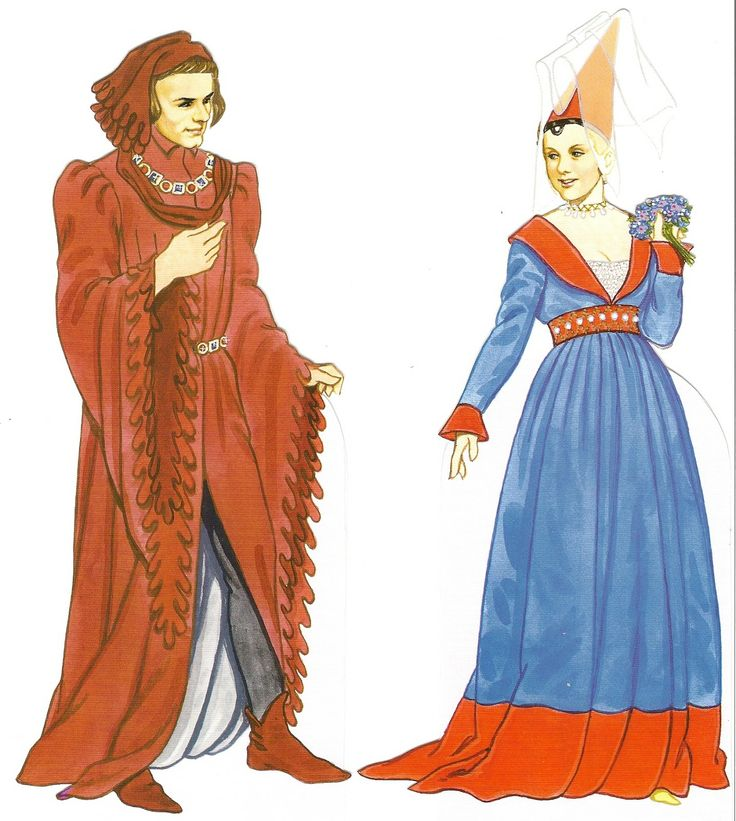Late Medieval Clothing - Notice the man's houppleande with dagging and the woman's V-neck gown and hennin