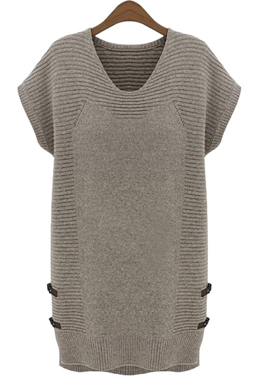 Solid Color Short Sleeve Sweater Dress
