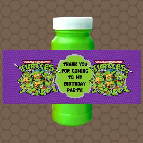 Purple green ninja turtles bubble labels wrappers stickers printable uprint digital diy instant download