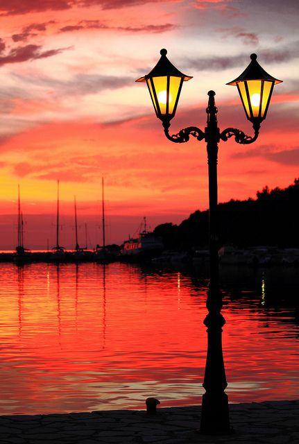 Harbour Lights at Sunset - Sivota, Greece