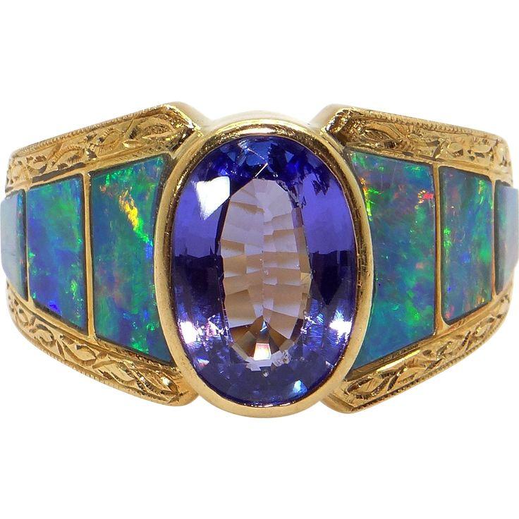 David Freeland 18k Yellow Gold 1.75ct Oval cut Tanzanite & Opal Band Ring Size 7.75 found at www.rubylane.com @rubylanecom