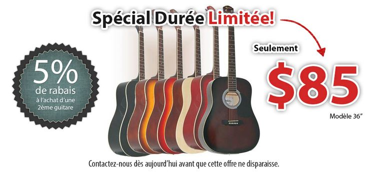 Lorsqu'il s'agit de guitares a vendre, nous sommes vraiment les experts! Acoustiques ou electrique, neuves, accessoires compris, livraison gratuite, contactez-nous! 514–892–7348
