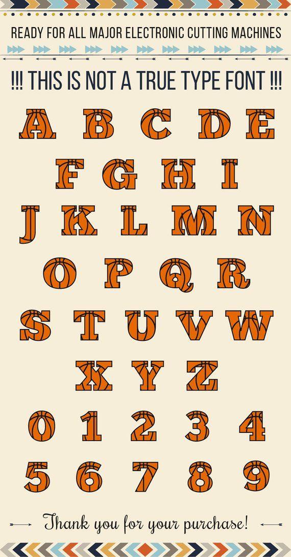 BASKETBALL FONT Svg Orange Letters With Black Ribs