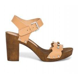 Sandale cuir nude sur talon bois