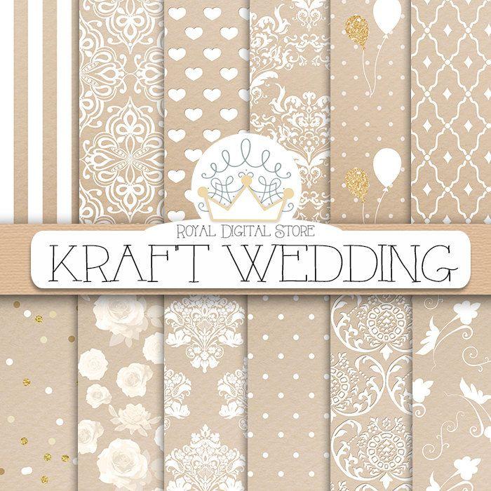 "Kraft digital paper: ""KRAFT WEDDING"" with kraft scrapbook paper, wedding background, wedding patterns for scrapbooking, cards #wedding #damask #planner #shabbychic #romantic #scrapbookpaper #digitalpaper"