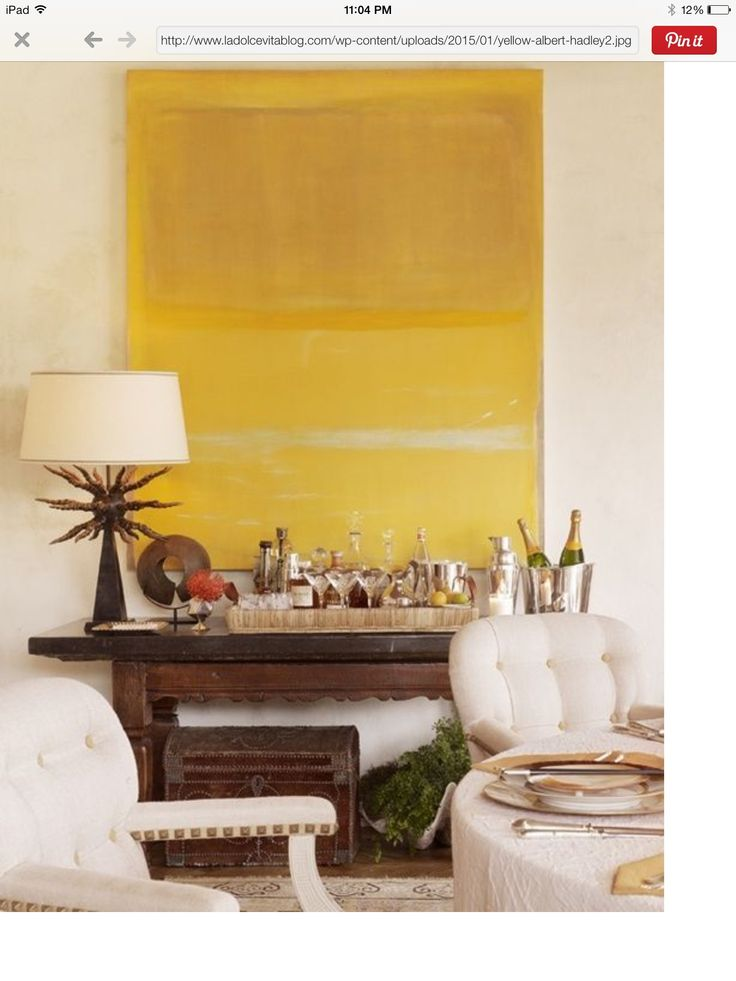 Abstract oversize sunny yellow painting, brings a brightness to the space