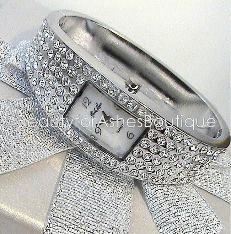 Jewels by Park Lane Jewelry Diamand Dream Watch Pave Crystal Hinged Cuff Womens #JewelsbyParkLane