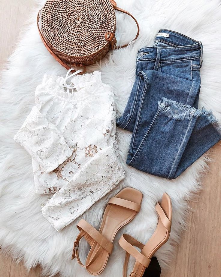 Pretty little white lace top perfect for a summer date night. ☀️These are those same raw hem jeans I shared the other day (just $39.99 🙌🏼)… summer style, summer outfit with jeans