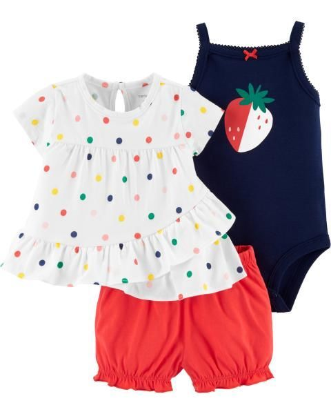 211ca2e055fc0 3-Piece Strawberry Little Short Set | Baby 2019 | Body suit with ...