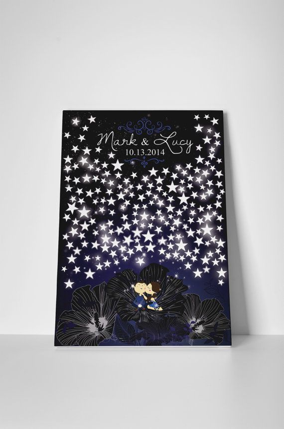 Alternative wedding Guestbook couple in love under the stars on canvas 200 signatures. Available with the number of stars you want. on Etsy, $91.95