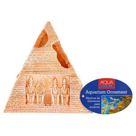 Aqua Culture 5.5 inch Pyramid Aquarium Ornament Decoration, Gold