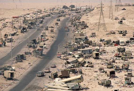 """The """"Highway of Death"""" after American warplanes caught retreating Iraqi forces in the open in the Gulf War of 1991 against Iraq."""
