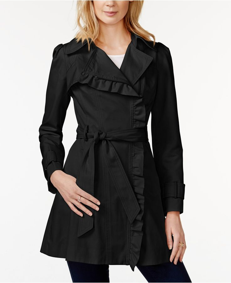 Jessica Simpson Ruffled Asymmetrical Trench Coat - Jessica Simpson Clothing - Browse - Macy's