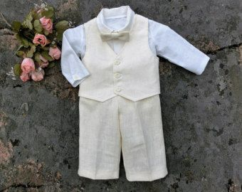 Ring bearer outfit baby. Baby wedding outfit. Baby boy linen