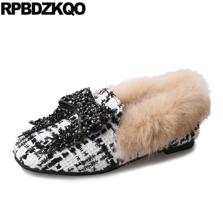 Loafers Stud Rivet Vintage Black And White Famous Brand Shoes Woven Flats Crystal Big Bow Rhinestone Square Toe Women Fur Plaid