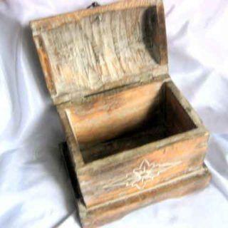 Cufar lemn brut, cufar din lemn decorat antic