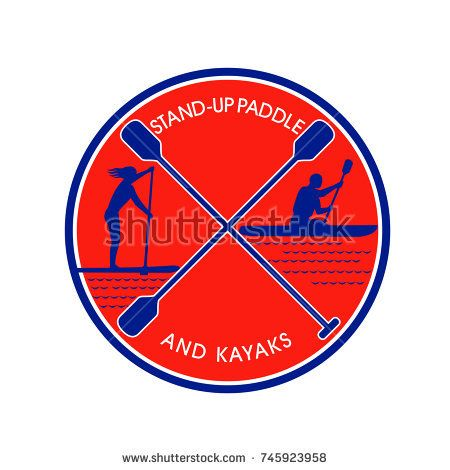 Retro style illustration of female on stand-up paddle or sup and male on kayak paddling with crossed paddle in center set inside circle on isolated background.  #standuppaddle #kayak #retro #illustration