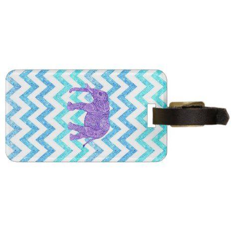 Purple Paisley Elephant Girly Teal Glitter Chevron Bag Tag #chevron #pattern #accessories
