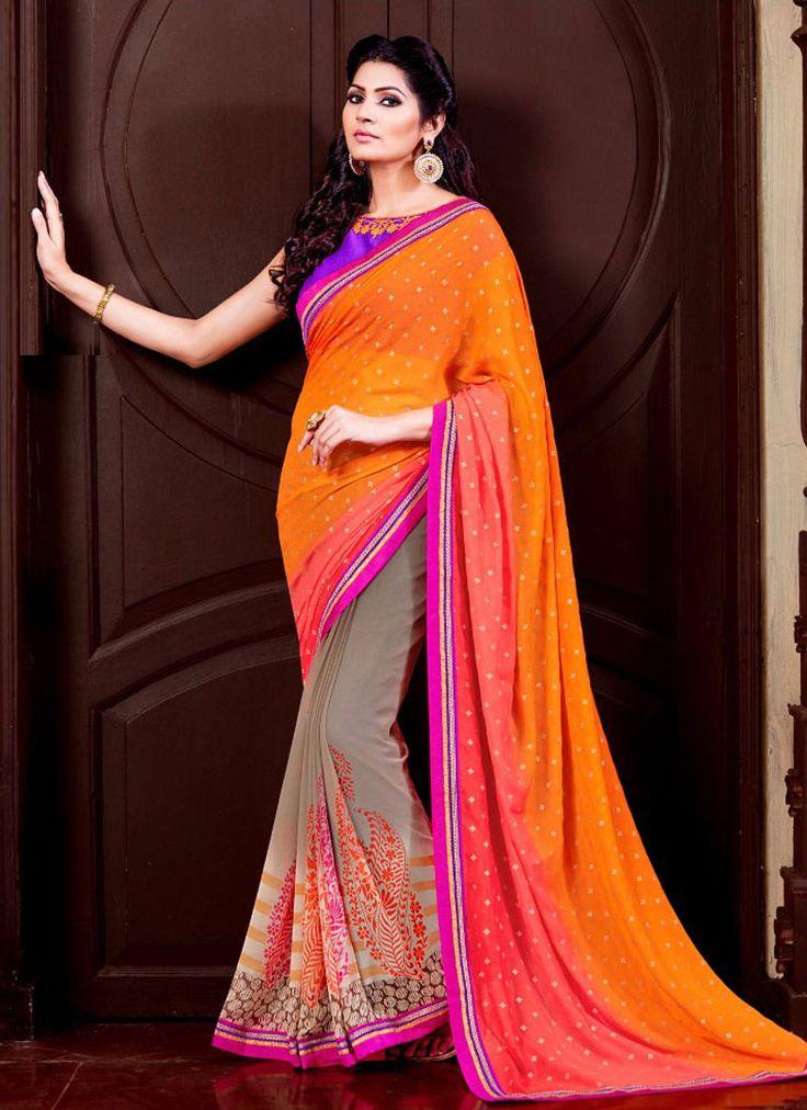 Phenomenal Georgette Multi Colour Patch Border Work Designer Saree