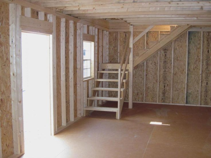 Amish Built Attic Car Garage With Loft Space: Two Story Garage Interior Staircase