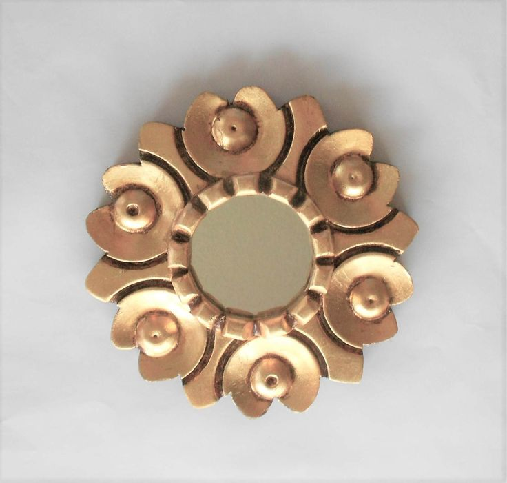 "6"", Round Mirror, Decorative Mirror, Wall Hanging Mirror, Ornate Round MIrror, Gold Leaf Mirror, Gold Frame Mirror, Wall Hanging Mirror by GoldLeafGirl on Etsy"