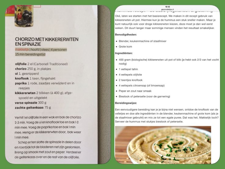 20150417 Chorizo met kikkererwten en spinazie. Vers gebakken brood met hummus