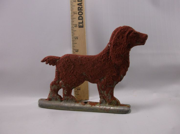 Vintage Fence Topper of Vintage Metal Spaniel dog for chain link fence ,gates, farms,fence posts.epsteam