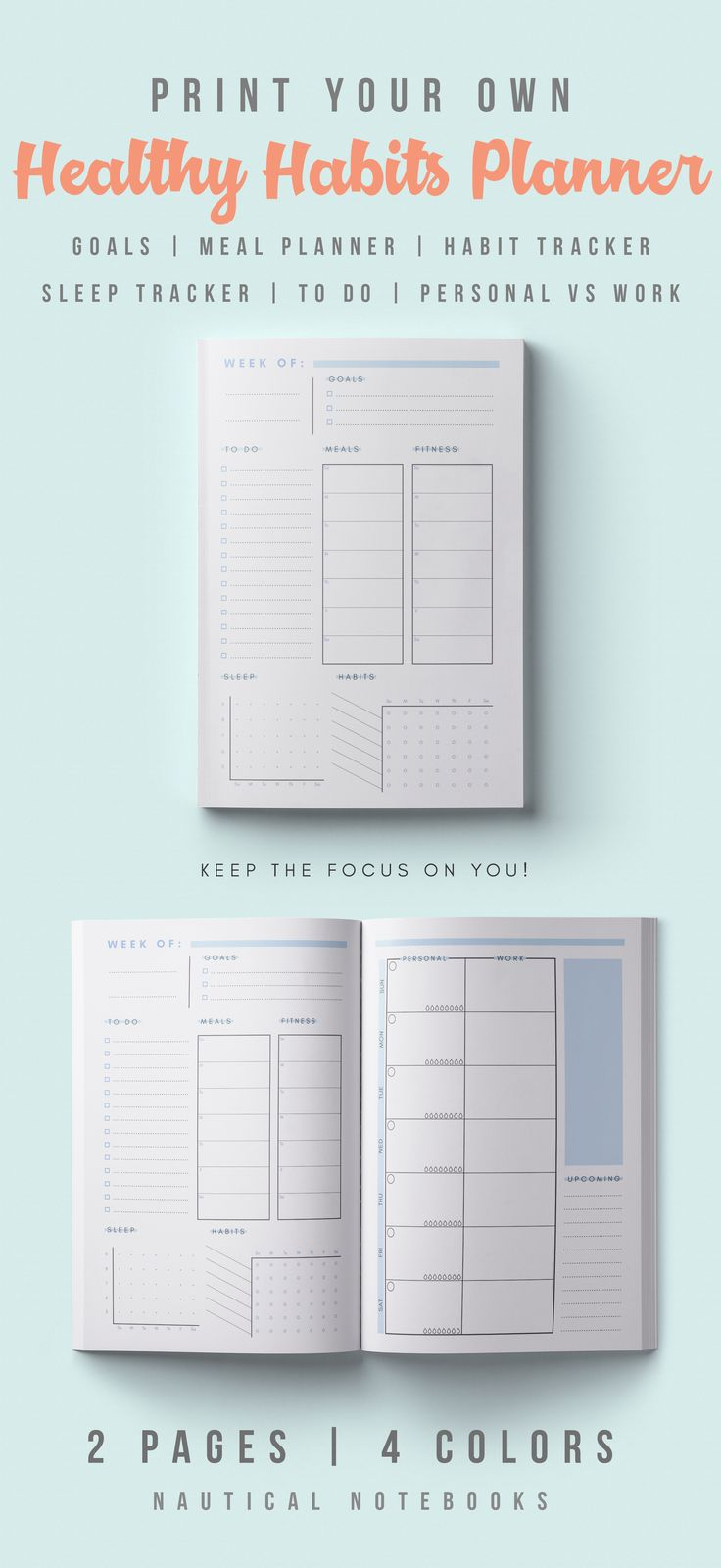 If you're looking to focus on your wellness, and you're too lazy for bullet journals, then this is perfect for you! A healthy habits planner for tracking goals, habits, sleep, meals, exercise, and work vs personal time. Make sure you take care of YOU. #fitnessmotivation #healthyliving #healthylife #wellness