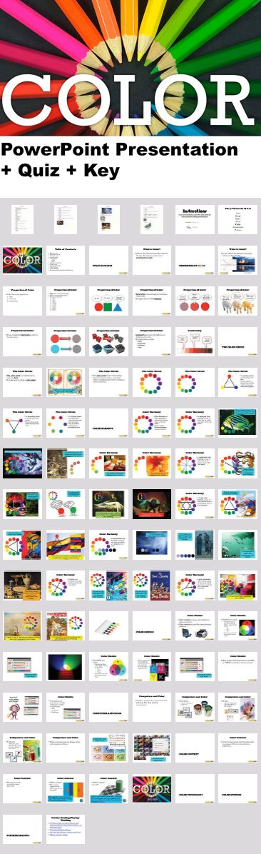 The Elements of Art - Color - PowerPoint Presentation and Quiz. I use this Powerpoint presentation and quiz bundle to introduce students to the element of art known as color. The presentation has notes and activities built in. It's designed so they can take the notes and do the activities in their sketchbooks or notebooks.
